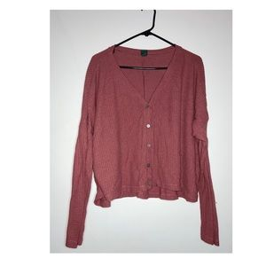 Burgundy thermal V-neck long sleeve